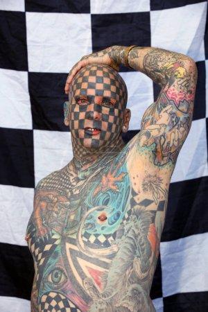 AMSTERDAM, THE NETHERLANDS - MAY 27, 2017: Matt Gone world's most tattooed man at the International Tattoo Convention Amsterdam 2017 in the RAI congress center.
