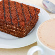 Delicious chocolate cake and cup of cocoa with mil...