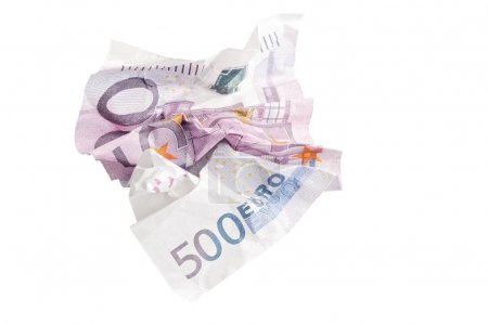 Crumpled banknote of 500 euros isolated on white
