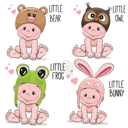 Illustration pour Ensemble de bébés de bande dessinée mignon dans des chapeaux de différents animaux - image libre de droit