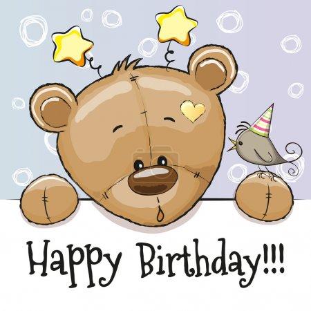 Illustration pour Carte d'anniversaire avec ours en peluche et oiseau - image libre de droit