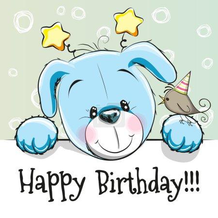 Illustration pour Carte d'anniversaire avec chiot mignon et oiseau - image libre de droit