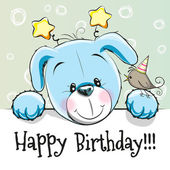 Birthday card with Cute puppy and bird