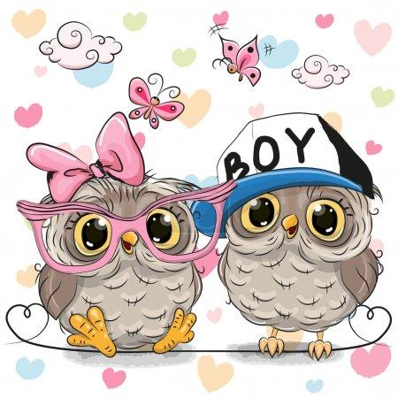 Illustration pour Deux chouettes mignonnes sur un fond de coeur - image libre de droit