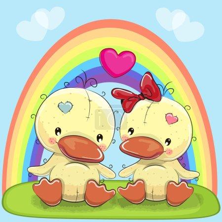 Photo pour Carte de Saint-Valentin avec des Amants Canards et un arc-en-ciel - image libre de droit