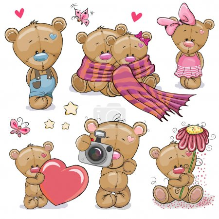 Illustration for Set of Cute Cartoon Teddy Bear on a white background - Royalty Free Image