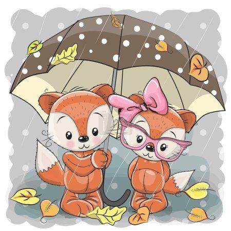 Illustration pour Deux mignons renards dessin animé avec parapluie sous la pluie - image libre de droit