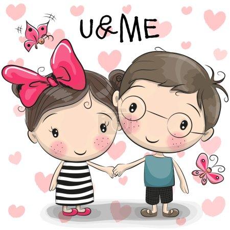 Illustration pour Mignon dessin animé garçon et fille se tiennent la main sur un fond de coeur - image libre de droit