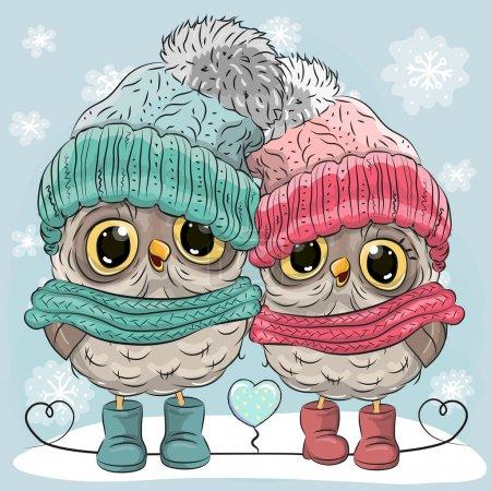 Photo pour Mignonne illustration d'hiver Deux hiboux Garçon et fille en chapeaux et écharpes - image libre de droit