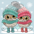 Постер, плакат: Cute Owls Boy and Girl