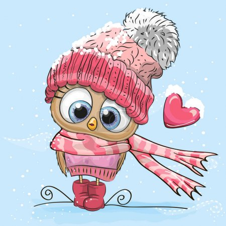Illustration for Cute Cartoon Owl in a hat and scarf - Royalty Free Image