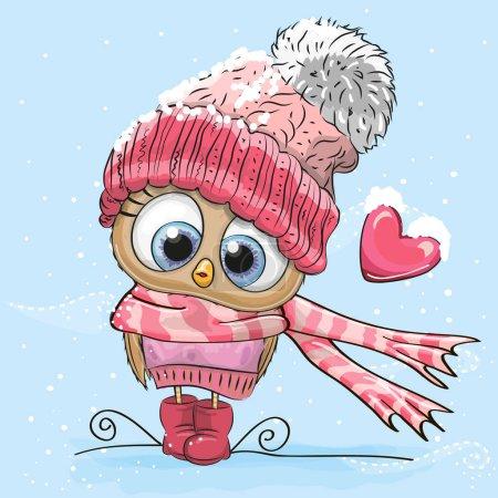 Photo pour Chouette dessin animé dans un chapeau et une écharpe - image libre de droit