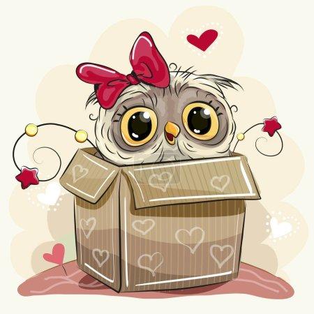 Illustration pour Carte d'anniversaire avec une jolie fille Cartoon Owl et une boîte - image libre de droit