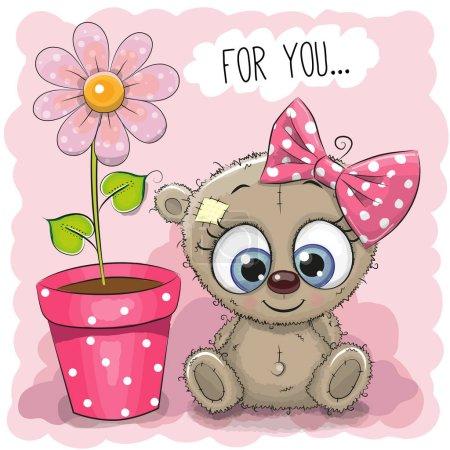 Photo pour Carte de voeux Bear girl avec fleur sur fond rose - image libre de droit