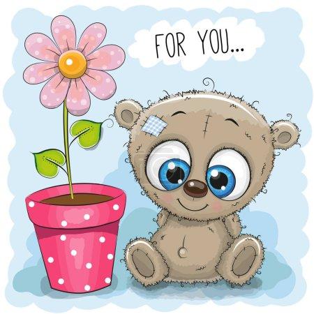 Photo pour Carte de voeux Ours avec fleur sur fond bleu - image libre de droit