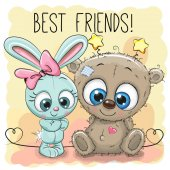Cute Bear and rabbit girl