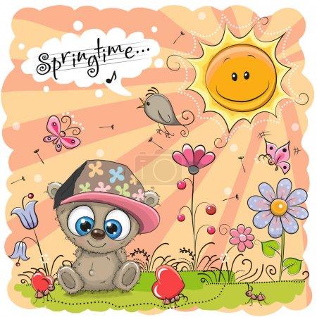 Photo pour Mignon dessin animé ours en peluche sur la prairie avec des fleurs - image libre de droit