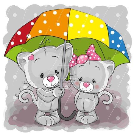 Photo pour Deux chatons de dessin animé mignons avec parapluie sous la pluie - image libre de droit