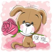 Cartoon Puppy with flower on a pink background