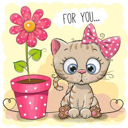Photo pour Carte de voeux chaton fille avec fleur sur un fond bleu - image libre de droit