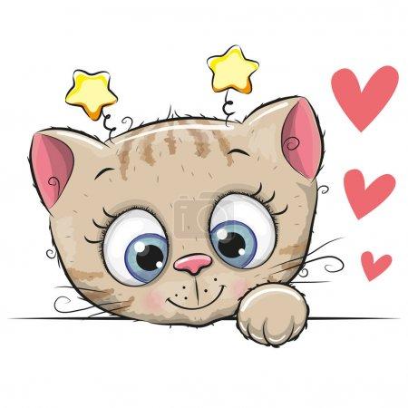 Illustration pour Chaton dessin animé mignon avec de gros yeux sur un fond blanc - image libre de droit