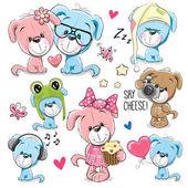 Set of Cute Cartoon Dogs