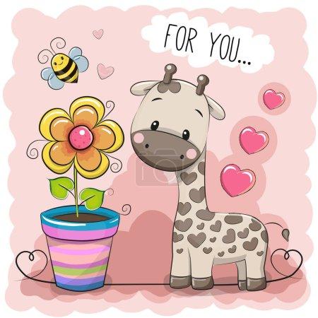 Photo pour Carte de souhaits Mignonne Caricature Girafe avec une fleur sur fond rose - image libre de droit
