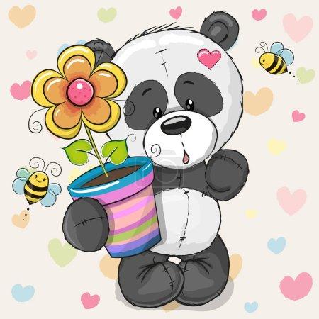 Cute cartoon Panda with flower