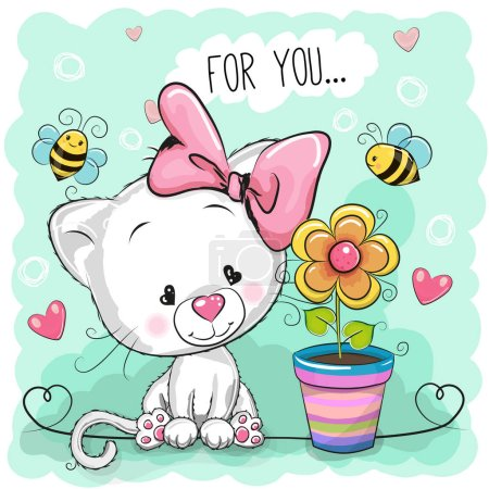 Illustration for Greeting card cute cartoon Kitten with flower - Royalty Free Image