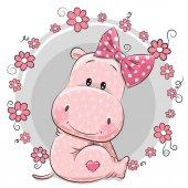 Greeting card cute Cartoon Hippo