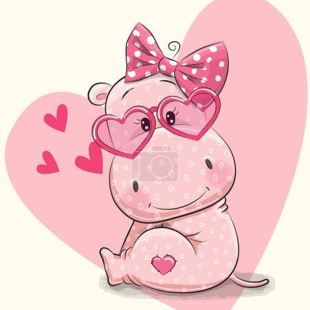Photo pour Mignon hippopotame fille en lunettes de soleil sur un fond de coeur - image libre de droit
