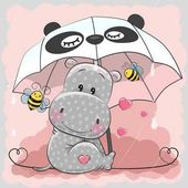 Cute Hippo with umbrella