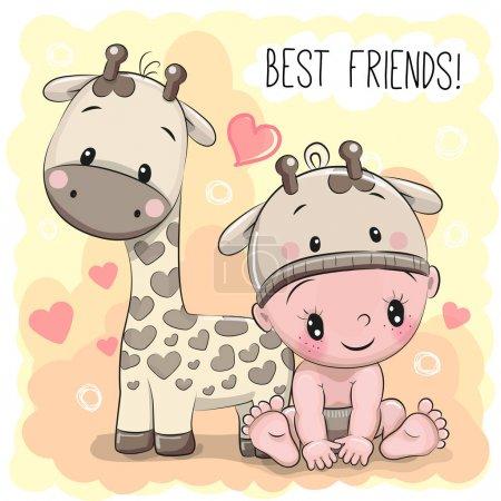 Baby in a giraffe hat and giraffe