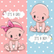 Baby Shower greeting card with babies boy and girl...