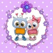 Greeting card with Two cute Cartoon Owls...
