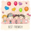 Three Cute cartoon girls and two boys with balloon...