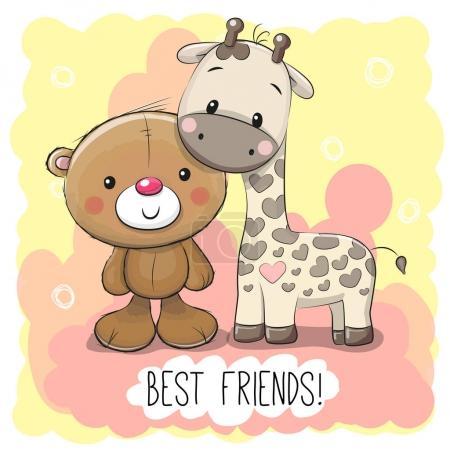Illustration pour Ours dessin animé mignon et girafe sur un fond rose - image libre de droit