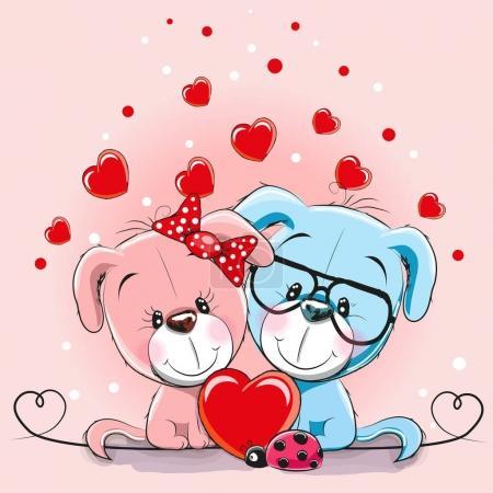 Photo pour Carte de Saint-Valentin avec Lovers Chiens et cœurs - image libre de droit