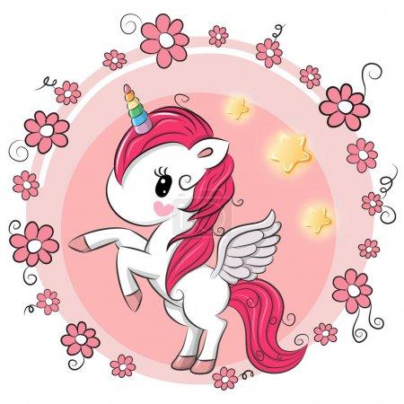 Illustration pour Mignon dessin animé licorne avec des fleurs sur un fond rose - image libre de droit