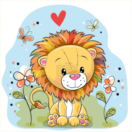 Illustration for Cute Cartoon Lion with flowers and butterflies on a meadow - Royalty Free Image