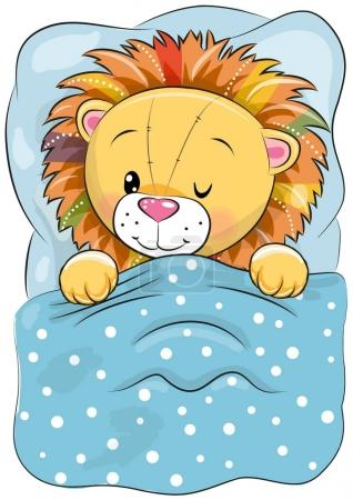 Illustration for Cute Cartoon Sleeping Lion with a bed - Royalty Free Image
