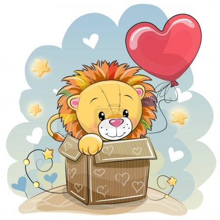 Illustration for Birthday card with a Cute Lion and balloon - Royalty Free Image