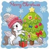 Cute Cartoon Unicorn in a scarf