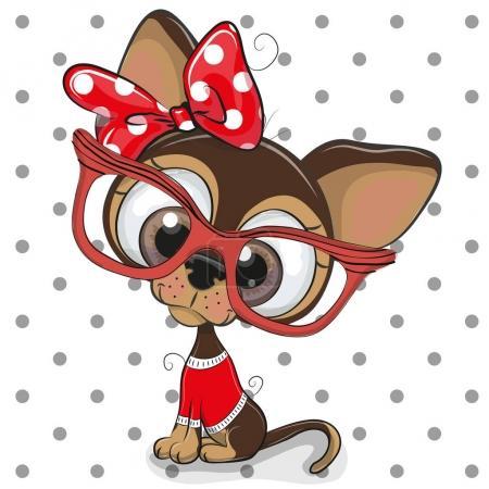 Illustration pour Mignon chiot de bande dessinée avec des lunettes rouges sur un fond de points - image libre de droit