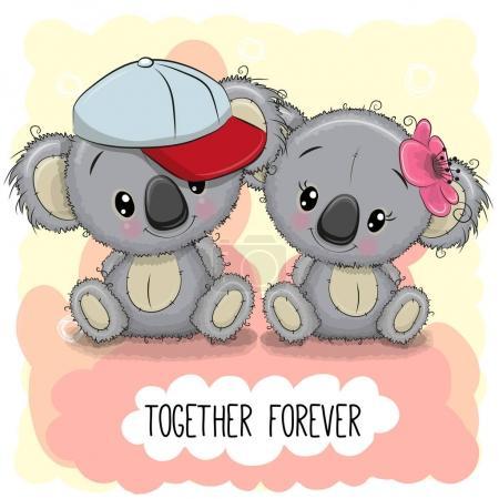 Valentines card with Cute Cartoon Koalas boy and g...