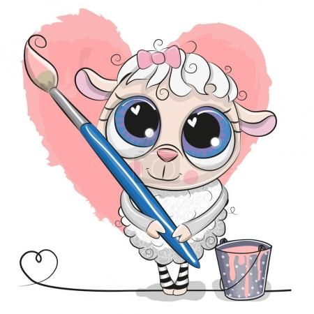 Illustration for Cute cartoon Sheep with brush is drawing a heart - Royalty Free Image