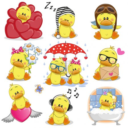 Illustration for Set of Cute Cartoon Ducks on a white background - Royalty Free Image