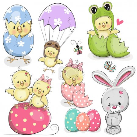 Illustration for Easter set with cute Cartoon Chicken and rabbit - Royalty Free Image