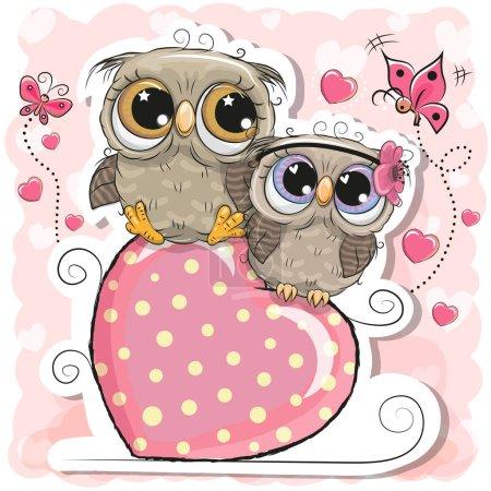 Illustration pour Deux chouettes mignonnes est assis sur un cœur sur un fond rose - image libre de droit