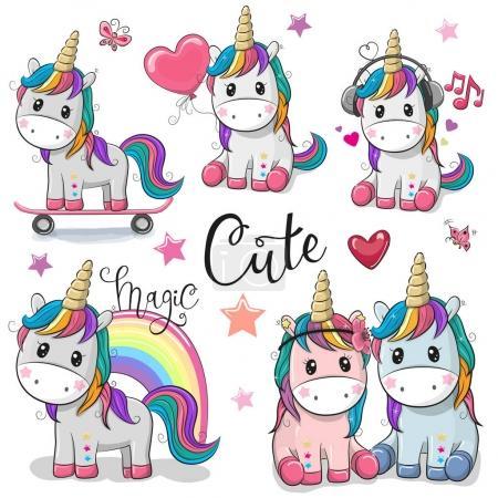 Illustration for Set of Cute Cartoon Unicorns isolated on a white background - Royalty Free Image